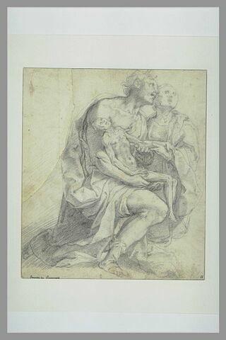 Un homme et une femme agenouillés, portant une 'animula'