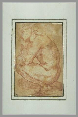 Jeune homme nu, accroupi, tourné vers la gauche