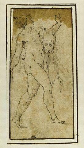 Faune portant la pardalide suspendue à son bras gauche tendu