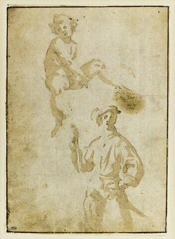 Copie d'après Pontormo : l'Hallebardier et le putto de la lunette de Vertumne et Pomone de la villa de Poggio a Caiano