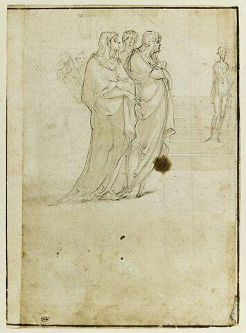 Groupe de six figures debout, drapées