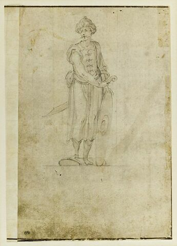 Héros, en habit turc ou grec, d'après un dessin de Bernardo Buontalenti pour La Pellegrina (1589)