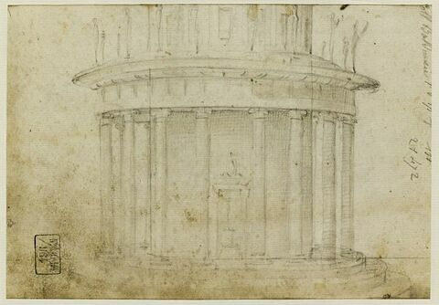 Etude d'un bâtiment en rotonde, orné de statues