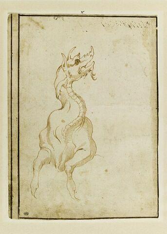 Vue frontale d'une Pistris (monstre marin) antique,