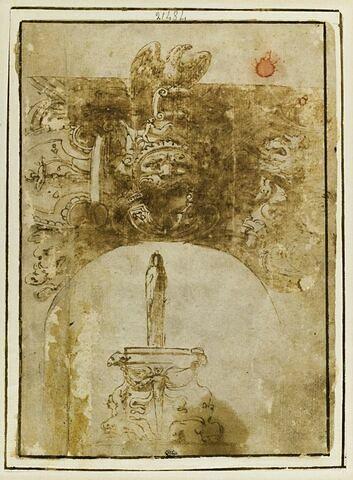 Dessus de baie cintrée surmontée d'un aigle avec un mascaron, et fontaine