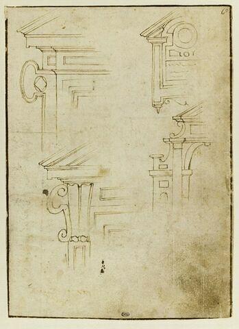 Quatre études pour la partie gauche d'un fronton Renaissance