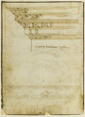Etude du bord gauche d'une corniche à cinq moulures