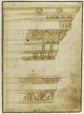 Etudes d'entablement à douze moulures, décorées d'oves, denticules, rosaces