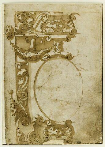 Etude d'un ornement pour un cartouche ovale avec cuirs et mascarons