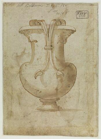 Etude de vase à anse décoré de deux figures