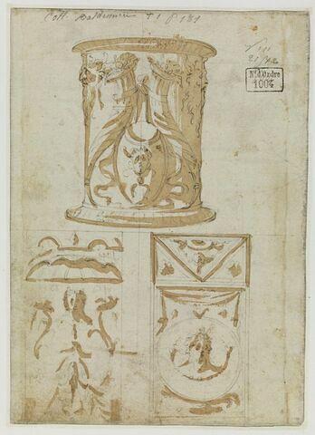 Etudes d'un autel rond, et de deux panneaux décoratifs