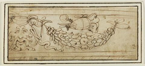 Motif de frise avec guirlandes et mascaron cornu