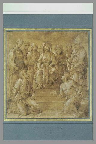 Vierge à l'Enfant trônant, entourée par huit saints