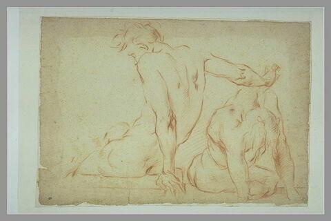 Deux figures nues, assises