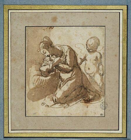Sainte agenouillée, en prière assistée par un ange : sainte Dorothée (?)
