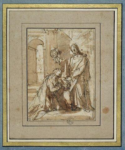 Sainte Catherine de Sienne à genoux, choisissant la couronne d'épines
