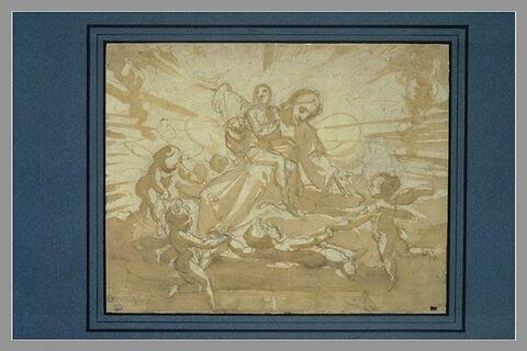 Le Christ accueillant une âme au purgatoire dans une gloire d'anges
