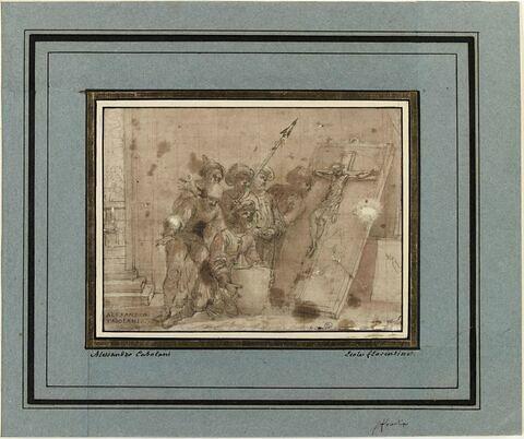 Scène miraculeuse : conversion des soldats voyant le sang couler du crucifix