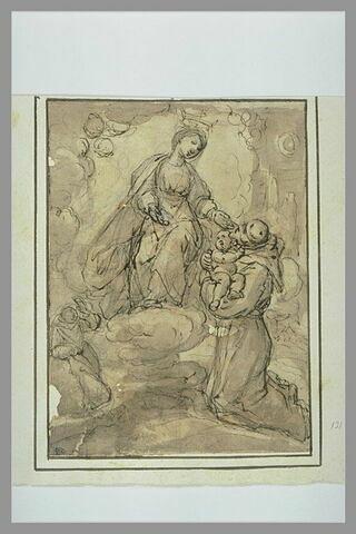 La Vierge remettant l'Enfant à saint François ; à gauche, saint Antoine