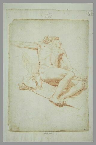 Homme nu, allongé sur le dos, de trois quarts à droite, les bras étendus