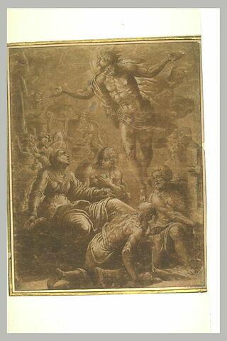 Le Christ apparaît à la Vierge à laquelle saint Jérôme baise les pieds