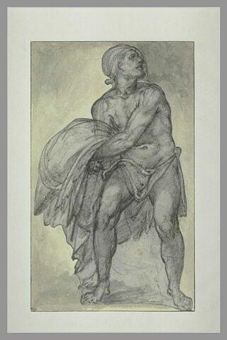 Homme à demi nu, tenant une draperie, regardant vers la droite