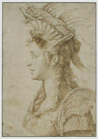 Femme vue en buste, de profil, coiffée d'un diadème surmonté d'un rouget