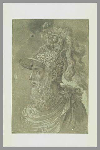 Tête de guerrier casqué à longue barbe