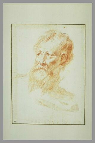 Vieux homme barbu, regardant vers la droite