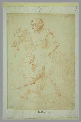 Vieillard assis et derrière lui un homme à cheval