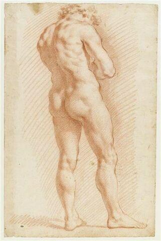 Etude d'un homme nu, debout vu de dos, les bras croisés