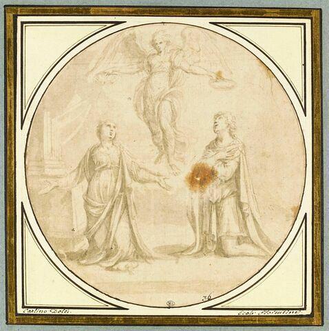 Ange apportant les couronnes de saintes Cécile et Valérie