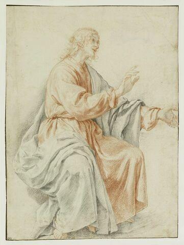 Homme drapé, assis, de profil vers la droite, prêchant