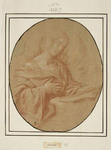 Demi-figure de femme assise, retenant une draperie, lisant ; détail de la manche gauche, en haut à droite