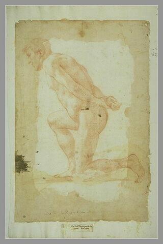 Homme nu agenouillé, de profil, les mains jointes derrière le dos
