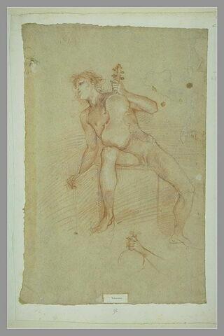 Homme nu, assis, tenant un violon ; études de bras et de violon