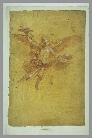 Un ange dans les airs, portant un calice avec une croix et une bannière