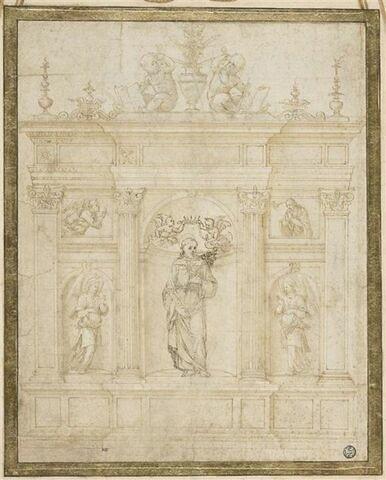 Etude pour un retable avec saint François entouré de la Vierge et Gabriel