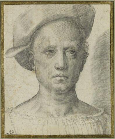 Tête d'homme, de face, coiffé d'un bonnet
