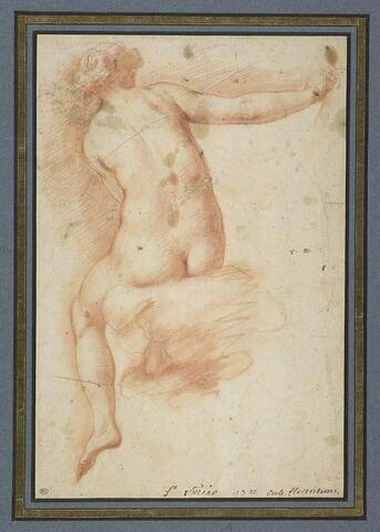 Femme nue, assise, de dos, bras droit étendu