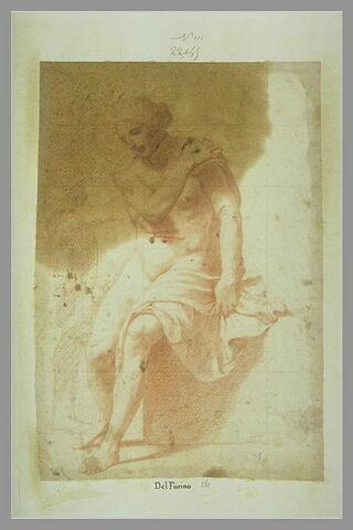 Femme nue assise de face, de trois quarts à gauche, regardant vers le bas, une draperie sur la cuisse gauche ; un homme debout