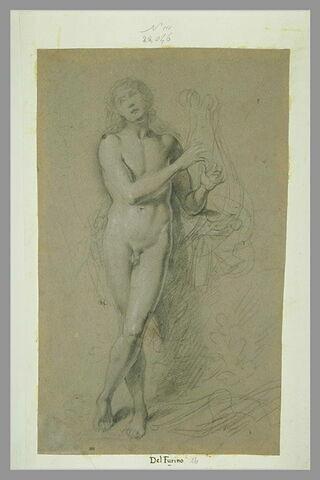 Jeune homme, debout, jouant de la lyre : Apollon ?