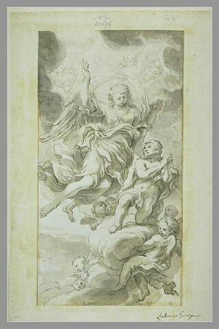 Un ange indiquant le ciel à un jeune garçon agenouillé sur des nuages