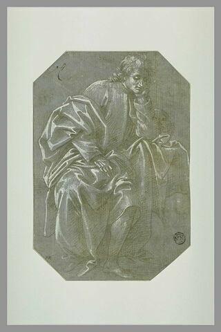 Homme drapé assis, la tête appuyée sur la main gauche
