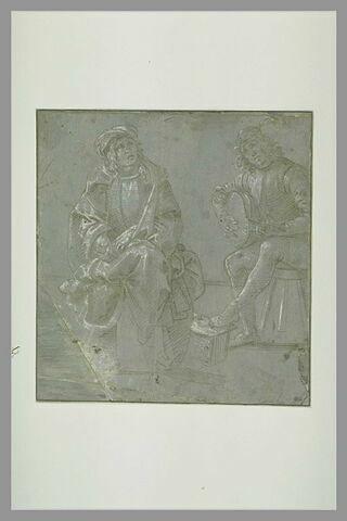 Deux jeunes hommes assis, l'un jouant de la mandoline