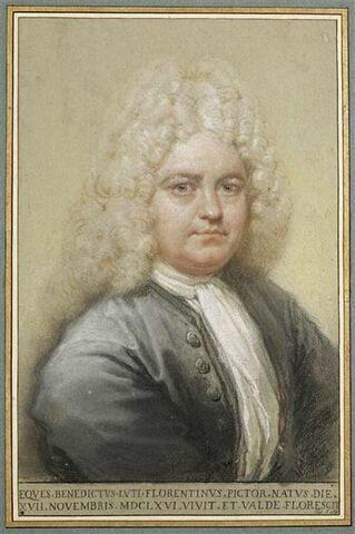 Autoportrait coiffé d'une perruque, tourné vers la droite