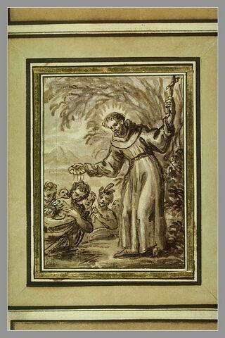 Saint François Xavier, la croix à la main, baptise les indiens agenouillés