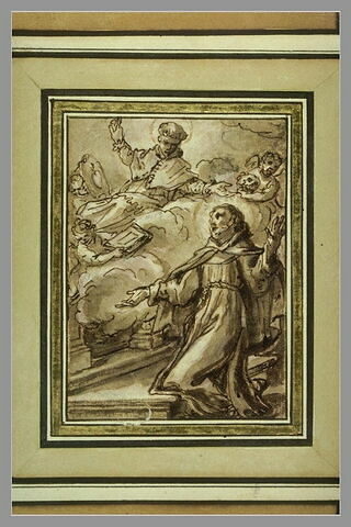 Saint François Xavier à genoux invoque saint Bonaventure