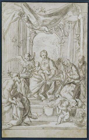 Vierge à l'Enfant entre un ange, saint Joachim, sainte Anne et saint Joseph