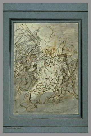 Le Christ réconforté par un ange au Mont des Oliviers...